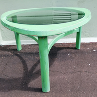 Mid Century Glass Coffee table in layers of green
