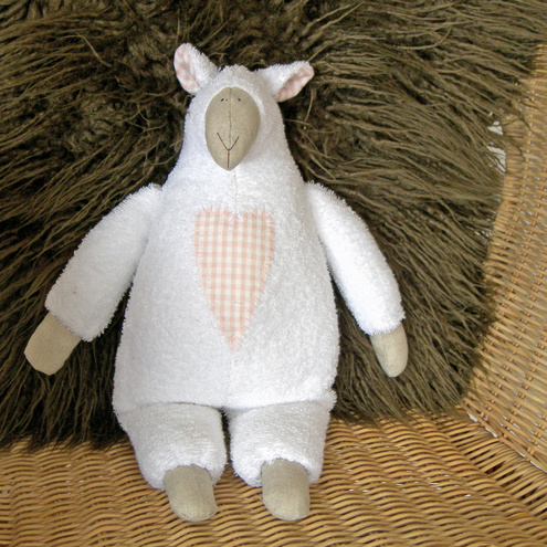 White Towelling Sheep with Pink Gingham Appliqued Heart