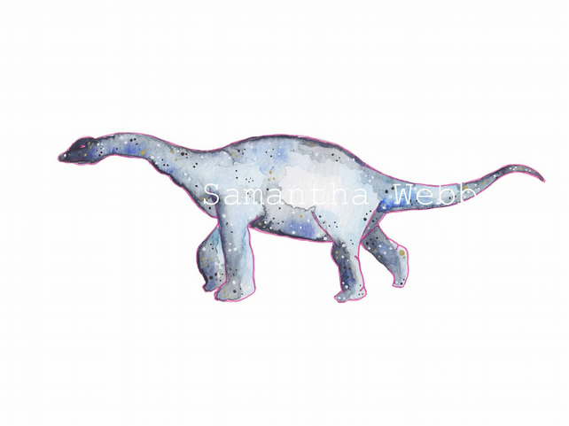 Brachiosaurus,  dinosaur art print, watercolour galaxy