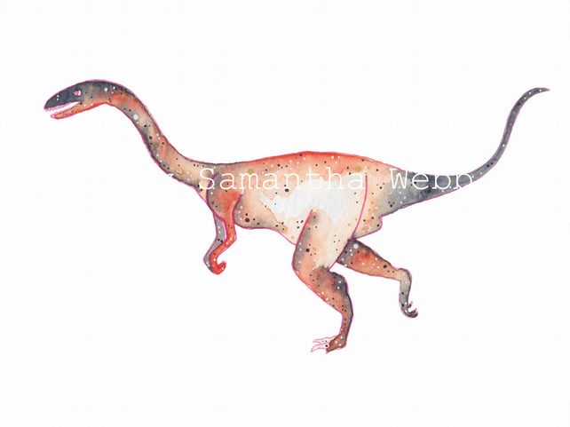 velociraptor,  dinosaur art print, watercolour galaxy