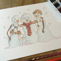 Personalised A5 Watercolour Snowmen painting