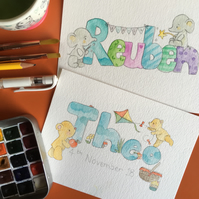 Watercolour Personalised Name Paintings