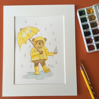 Watercolour Teddy Bear Illustration - Dancing In The Rain