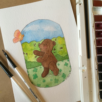 Watercolour Teddy Bear Illustration - Butterfly kisses