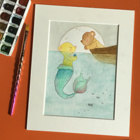 Watercolour Teddy Bear Illustration - Merbear and sailor