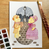 Watercolour Teddy Bear Illustration - Victorian Street