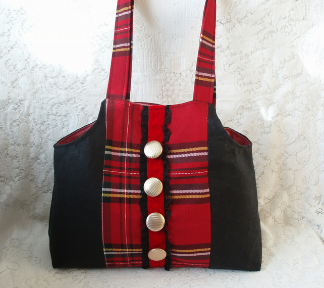 Elizabeth Handbag with tartan and linen fabric