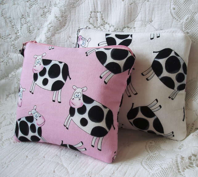 Cows fabric coin purse