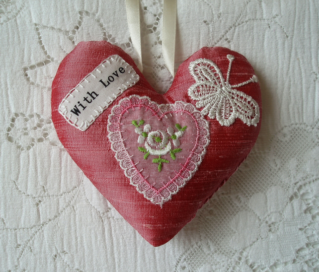 Rose scented silk heart