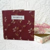SALE! Embroidered silk notebook with gift box