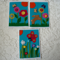 SALE! Textile notelets or greeting cards (pack of three)