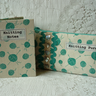 SALE! Knitting purse and Notebook