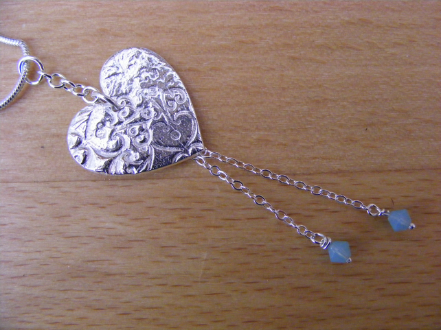 Heart Pendant with chain and opaque swarovski bead detail