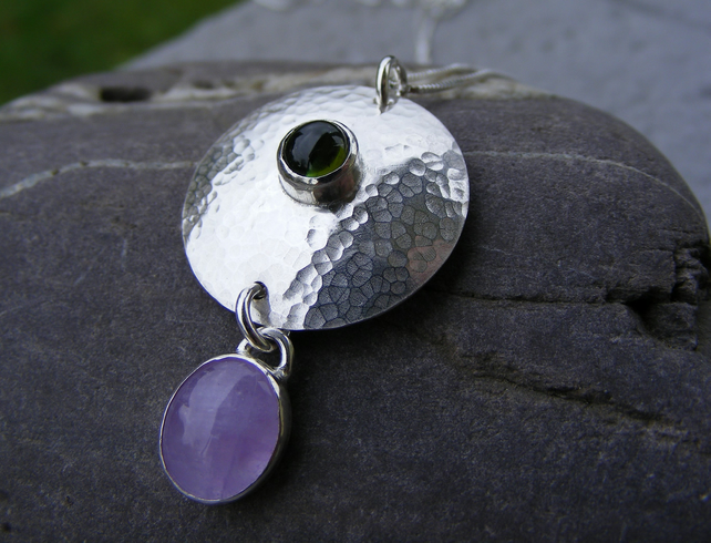 Sterling silver, tourmaline and amethyst pendant