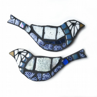 Mosaic birds, blue and white, pair, wall decor