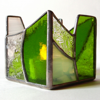 STAINED GLASS TEA LIGHT CANDLE HOLDER