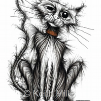 BAD CAT PRINT Naughty shabby scruffy puss A4 size animal image