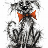 BOW TIE BARRY PRINT Very scruffy pet dog with an orange bow tie A4 size image