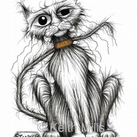 STINKER THE CAT PRINT Smelly kitty with mean grumpy face A4 size picture
