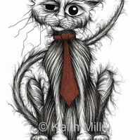 COOL CAT PRINT Happy pet puss wearing trendy neck tie A4 size image picture