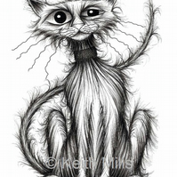 CHEEKY CAT PRINT Cute kitty puss who's been up to no good A4 size animal image