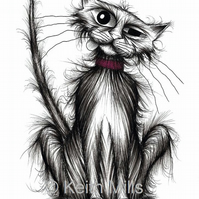 BUSTER PRINT Tough looking pet cat puss who's been up to no good A4 size picture