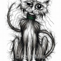 TOM CAT PRINT Tough looking scruffy pet kitty puss A4 size picture image