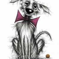 MR DOG PRINT Lovely pet pooch doggie in trendy bow tie A4 size animal picture