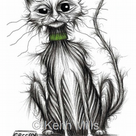 CREEPY CAT PRINT Strange looking puss who's been up to no good A4 size picture