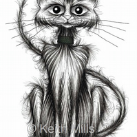 NORMAN THE CAT PRINT Startled looking pet kitty puss moggie A4 size picture