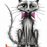 A VERY BAD CAT PRINT Naughty kitty with stolen fish A4 size picture image
