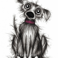 LITTLE LARRY PRINT Adorable pet pooch doggie dog and bone A4 size picture