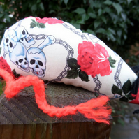 Handmade Catnip Mouse - Cream Skulls and Roses design - Extra Strong Catnip