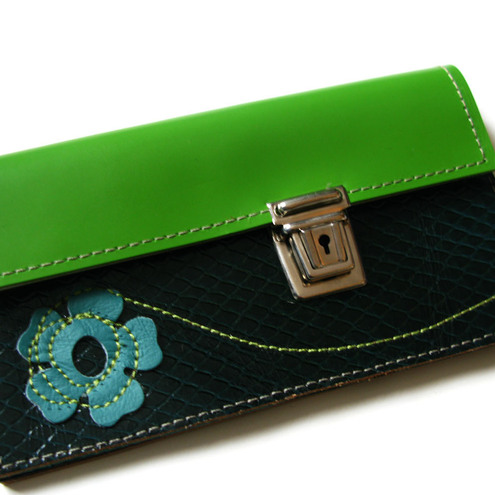 green with flower leather purse
