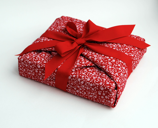 Reusable Gift Wrap, Red with White Sprig pattern and Red Ribbon
