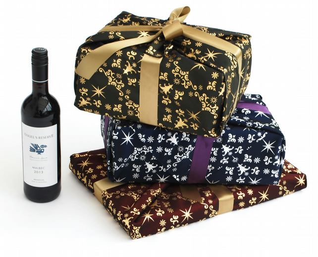 Luxury Christmas Gift Wrap, Set Of 3 Fabric Wra...