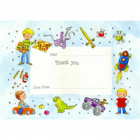 Boys Toys Thank-you Postcards