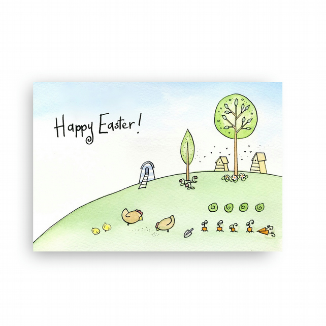 Easter Chick and Chickens Countryside Card