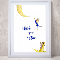 A4 children's art print illustration 'Wish upon a star'