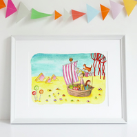 A4 children's fairytale art print illustration 'Sea of Custard'