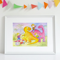 A4 children's art print illustration 'Dinosaur Playtime'