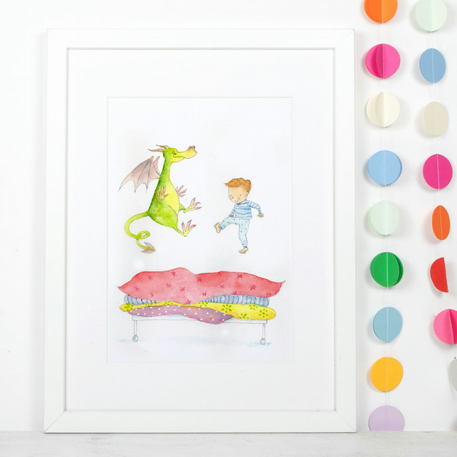 A4 children's art print illustration 'Dragon Jump'