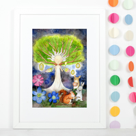 A4 children's fairytale art print illustration 'Queen of the Forest'