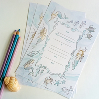 Mermaid fairytale birthday party invitations