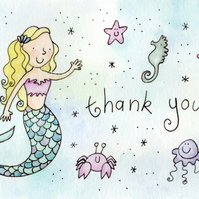 Mermaid Thank-you Postcards