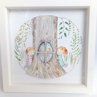 3-d effect Children's fairytale art print illustration 'fairy window'