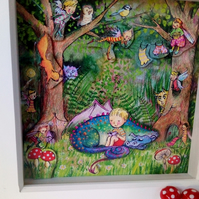 3-d effect Children's fairytale art print 'Dragon forest' perfect gift