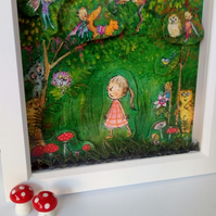 3-d effect Children's fairytale art print 'Into the Woods' perfect gift