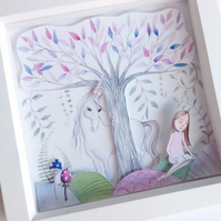 3-d effect Children's fairytale art print 'Unicorn' perfect gift