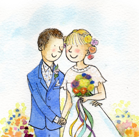 Personalised Wedding Couple Partnership Watercolour Illustration